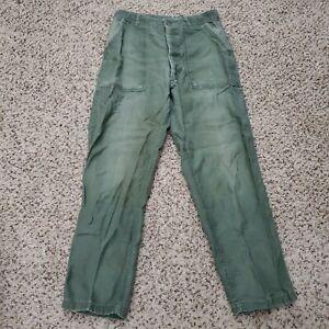 Vtg US Army Men Sateen OG-107 Trousers Pants Fatigue Vietnam Size 28x29