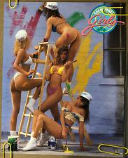 Original Vintage Poster California Girls Sexy Woman Painting Head Shop Pin Up