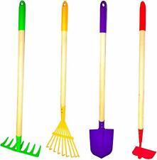 4 Piece Kids Garden Tools Set, Rake, Shovel, Hoe, Leaf Rake, Metal Wood Play Toy