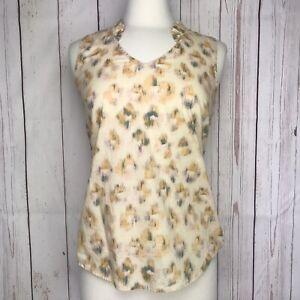 J Crew Womens Printed Ruffle Neck Sleeveless Blouse Size 4 Cream Green Cotton