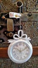 NWT RAZ Antique White Silver SANTA'S POCKET WATCH & chain CHRISTMAS ORNAMENT #C