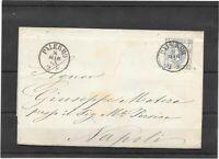 REGNO 1863 lettera 15 cent n.12c varietà spedito da Palermo a Napoli