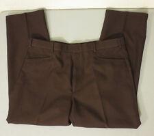 Men's Levi's Action Slacks BROWN Polyester Dress Flat Front Pants 40x29