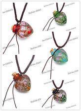 10pcs Murano Glass oil ashes urn bottle cork pendant vial Necklace Adjustable