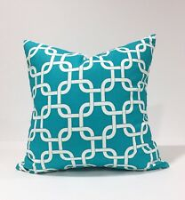"18x18"" True Turquoise Pillow Cover, Geometric Chain Link Pillowcase"