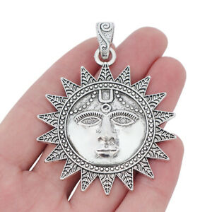 2pcs Antique Silver Large Sun Charms Pendants for Necklace Jewelry Making