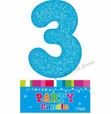 CAKE CANDLE NUMBER 3 GLITTER BLUE 3RD BIRTHDAY PARTY BOY THIRD THREE 13TH 30TH