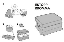 Footstool cover in Dansbo Dark Gray/Close to Balck SlipCover for IKEA EKTORP