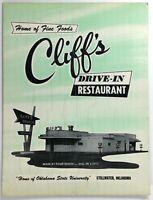 1961 Original Vintage Menu CLIFF'S DRIVE-IN RESTAURANT Stillwater Oklahoma