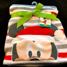 New Disney Baby SANTA MICKEY MOUSE Grey White Red STRIPE CHRISTMAS Blanket NWT