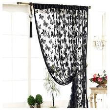 Rideau Voilages Fenêtre Noir Papillon Glands Fil Piéce Rideau Art Déco 100*200cm