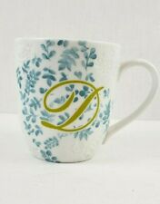 Pier 1 Ava Coffee Mug Cup Initial D White Blue Green Floral Porcelain excellent