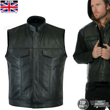 Mens Black Sons of Anarchy Genuine Real Leather Motorcycle Biker Waistcoat Vest