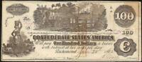1862 $100 DOLLAR BILL CONFEDERATE NOTE CURRENCY CIVIL WAR PAPER MONEY T-39 AU
