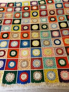 1960s Crocheted Granny Square w/ 3D Flowers Afghan Blanket Twin or Full 78 x 56
