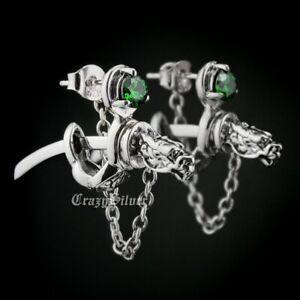 CZ Stone 925 Sterling Silver Dragon Japanese katana Men Punk Stud Earrings 8MX09