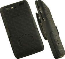 BLACK KICKSTAND HARD CASE COVER + BELT CLIP HOLSTER FOR MOTOROLA DROID RAZR