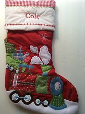 NEW Pottery Barn TRAIN Christmas Stocking Monogrammed~COLE~ On Red Background