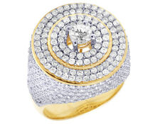 Men's 10K Yellow Gold Real Diamond Round Solitaire Center Pinky Ring 5Ct 20MM
