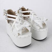 Super High Creeper Heels Women Sweet Lolita Buckle Ankle Open Toe Sandals Shoe