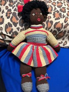 "17"" Folk Art Doll Brown Negro Black Americana Primitive Bows Hand Made Girl Toy"