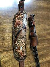 Rifle Sling Aa&E Leathercraft Pad Sling Genuine Cowhide With Deer Scene