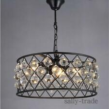 European Retro Crystal chandelier Pendant Lamp Creative Round Black Iron Lights