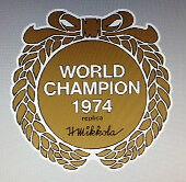 HUSQVARNA WORLD CHAMPION 1974 H. MIKKOLA 1974 REPLICA AIRBOX DECAL CREST
