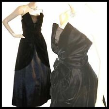 Vtg STRAPLESS Velvet Black BELLE Epoque GOWN Dress XS