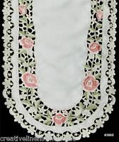 """Spring Embroidered Rose Daisy Floral Cutwork Table Runner 15x44"""" Beige #3685"""
