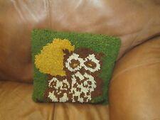VTG HAND MADE RETRO OWL LATCH HOOK PILLOW MOTHER & BABY FOLK ART