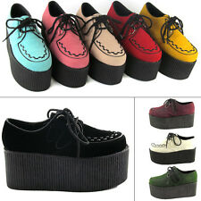 "Ladies High Platform Womens Trendy Retro Flat Triple Creeper 3"" Shoes BOOTS Size Black Suede Uk6 / Eu39"