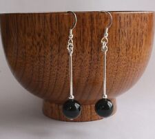 Solid 925 Sterling Silver Hook Earrings with Genuine round Black Onyx Bead