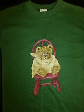 BRAND NEW ~ GIRLS SIZE 4 HANDPAINTED 'BABY BEAR ON HIS CHAIR' GREEN TSHIRT ~ NEW