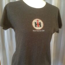CASE International Harvestor Womens T-Shirt Size L Red Tractor Girl Charcoal