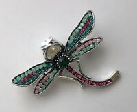 Dragonfly brooch in  enamel on  metal with crystals