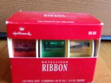 Hallmark Ribbon metallized 120 ft new unused orig box 3 ribbons red green gold 1