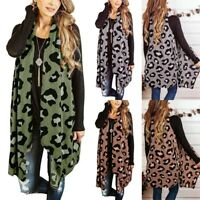 Fashion Women Leopard Cardigan Sleeveless Casual Loose Duster Draped Vests Tops