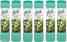 6x glade shake n 'vac tapis freshener parfum poudre 500g lily of the valley