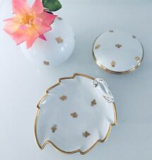 Mid century Art Deco Augarten Porcelain Jewelry Box Tray Vase Gold Grape Leaf