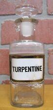 Antique TURPENTINE Reverse Glass Label Bottle Apothecary Drug Store Medicine