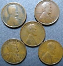 1914-1920, Vintage Lot of  5  LINCOLN WHEAT CENTS, Fine Circulated, NICE Coins