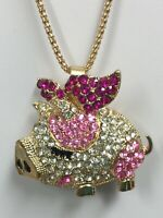 'WHEN PIGS FLY ' PIGGY NECKLACE PINK & CLEAR CRYSTALS FARM Piglet Jewelry