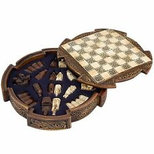 Isle Of Lewis Compact Celtic Chess Set Brown, History Craft - Enesco Style