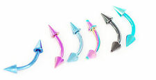 """6 Pc Spikes Titanium IP Surgical Steel Curved Barbell Eyebrow Ring 16g 5/16"""""""