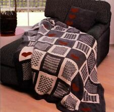Aran Knitting Pattern for Gorgeous Heart Themed Patchwork Throw & Cushion (133)