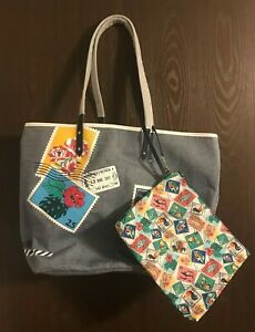 Vera Bradley Oxford Postage Stamps Beach Tote and Pouch -  NWT