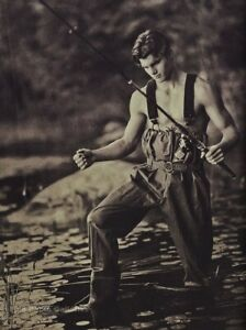 1990s Vintage BRUCE WEBER Handsome Young Man Fly Fishing Photo Gravure Art 11X14