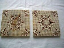 """Antiguo azulejos de cerámica - 2 X Marrón y Blanco - 6"""" X 6"""""""