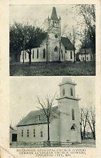 Methodist Episcopal & German Luther Church, Appleton City, Mo. Missouri postcard